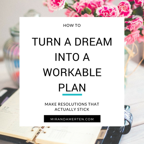 How to turn a dream into a workable plan. www.mirandamerten.com